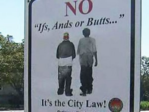 Signs in Opa-Locka, Florida warn residents about the saggy pants law.