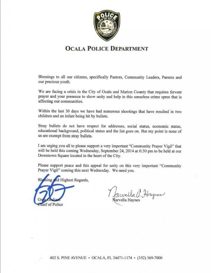 The Ocala Police Department says Ocala is in a crisis