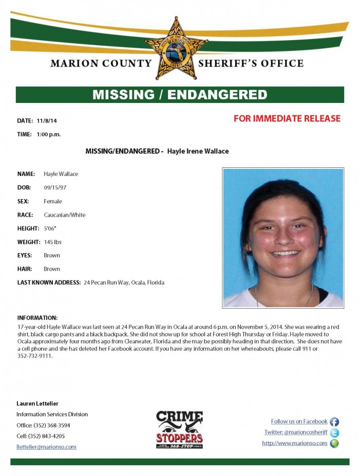 UPDATED: Missing / Endangered teen in Ocala / Marion County