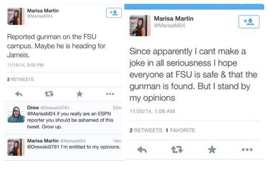 Marisa Martin, an intern reporter for ESPNU Campus Connection, florida state, FSU shooting, Tallahassee news,