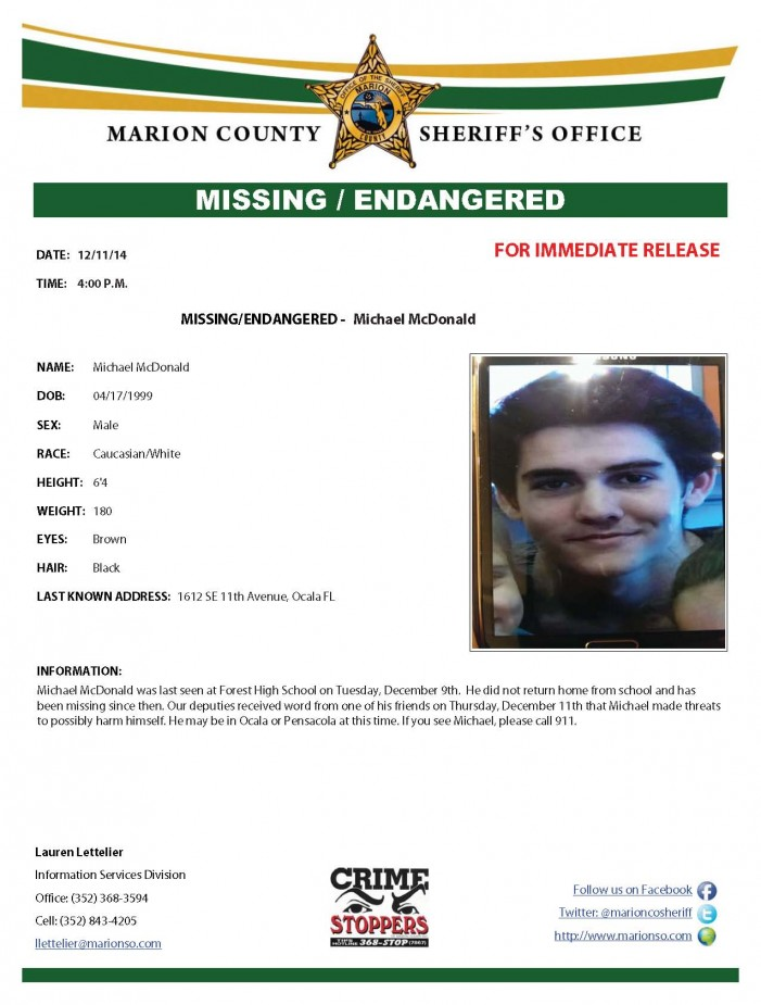 MCSO: Missing Forest High School student found