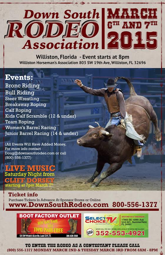 Down South Rodeo, giveaway, tickets, ocala news, events, williston