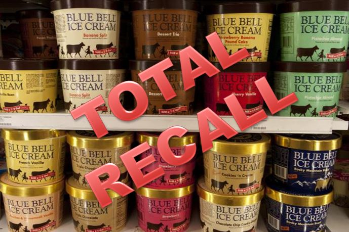WARNING: All Blue Bell Ice Cream products recalled
