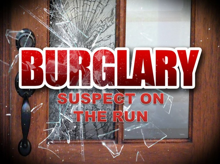 Burglary suspect on the run