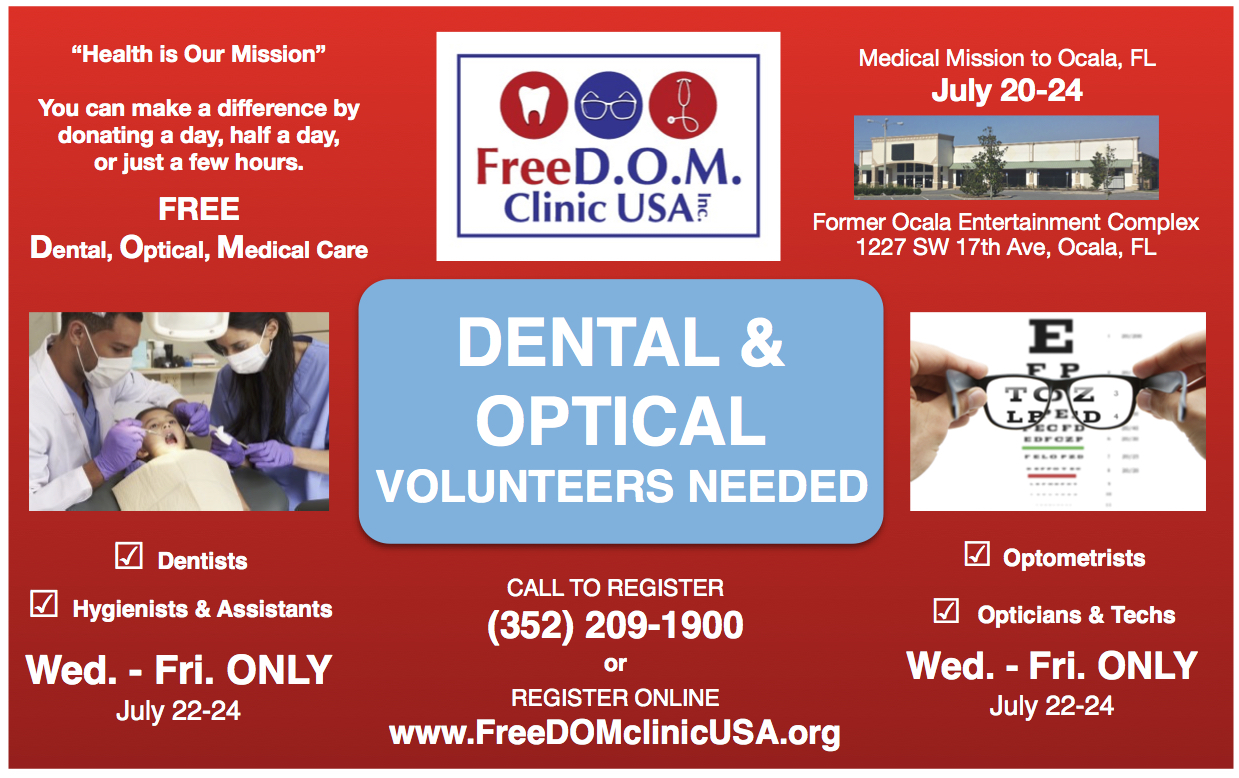 ocala news, marion county news, free medical, dental, optical, freedom clinic