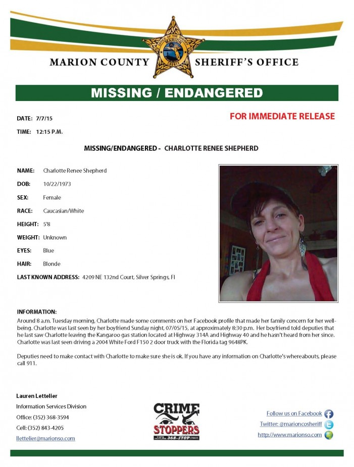 Missing and endangered Silver Springs woman