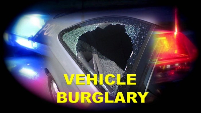 Vehicle burglaries at gyms and parks, windows shattered