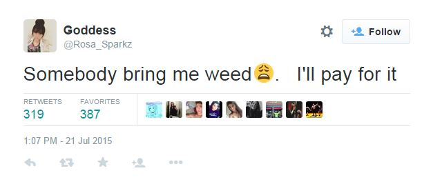 "Girl wanted to buy ""weed"" via Twitter"