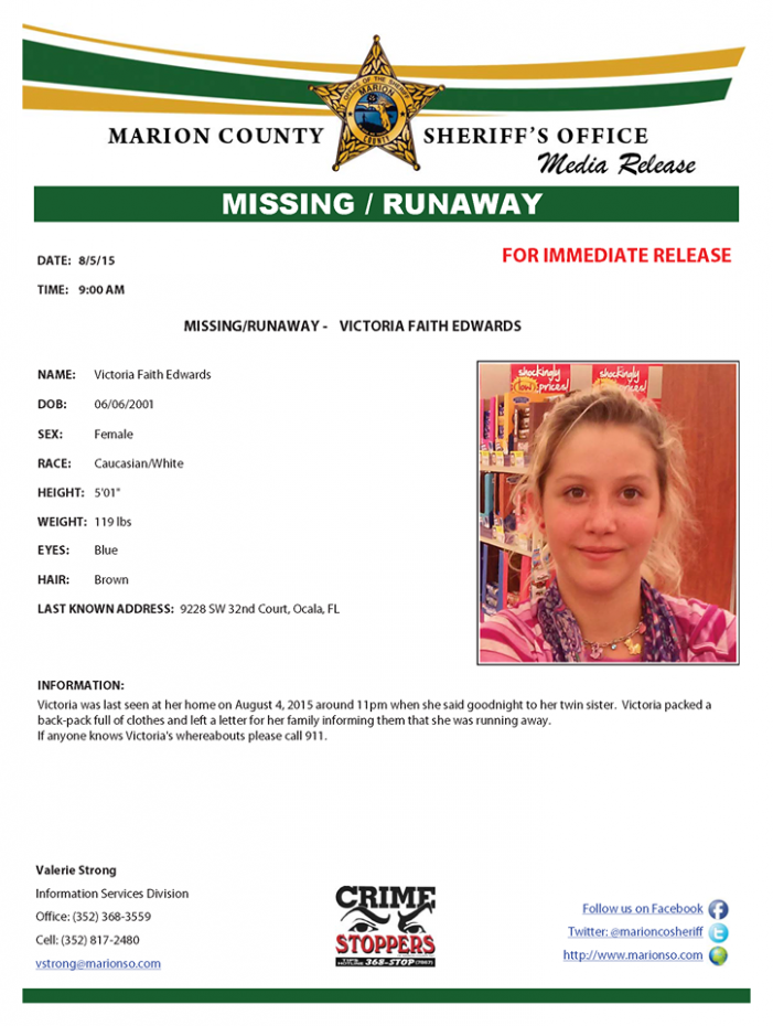 Missing runaway teen