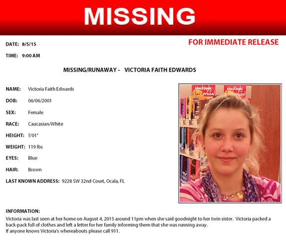 Victoria Edwards, missing teen, florida, ocala news, op, marion county news, missing child in ocala,