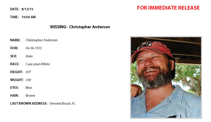Christopher Anderson, ocala news, marion county news, missing, ocala national forest