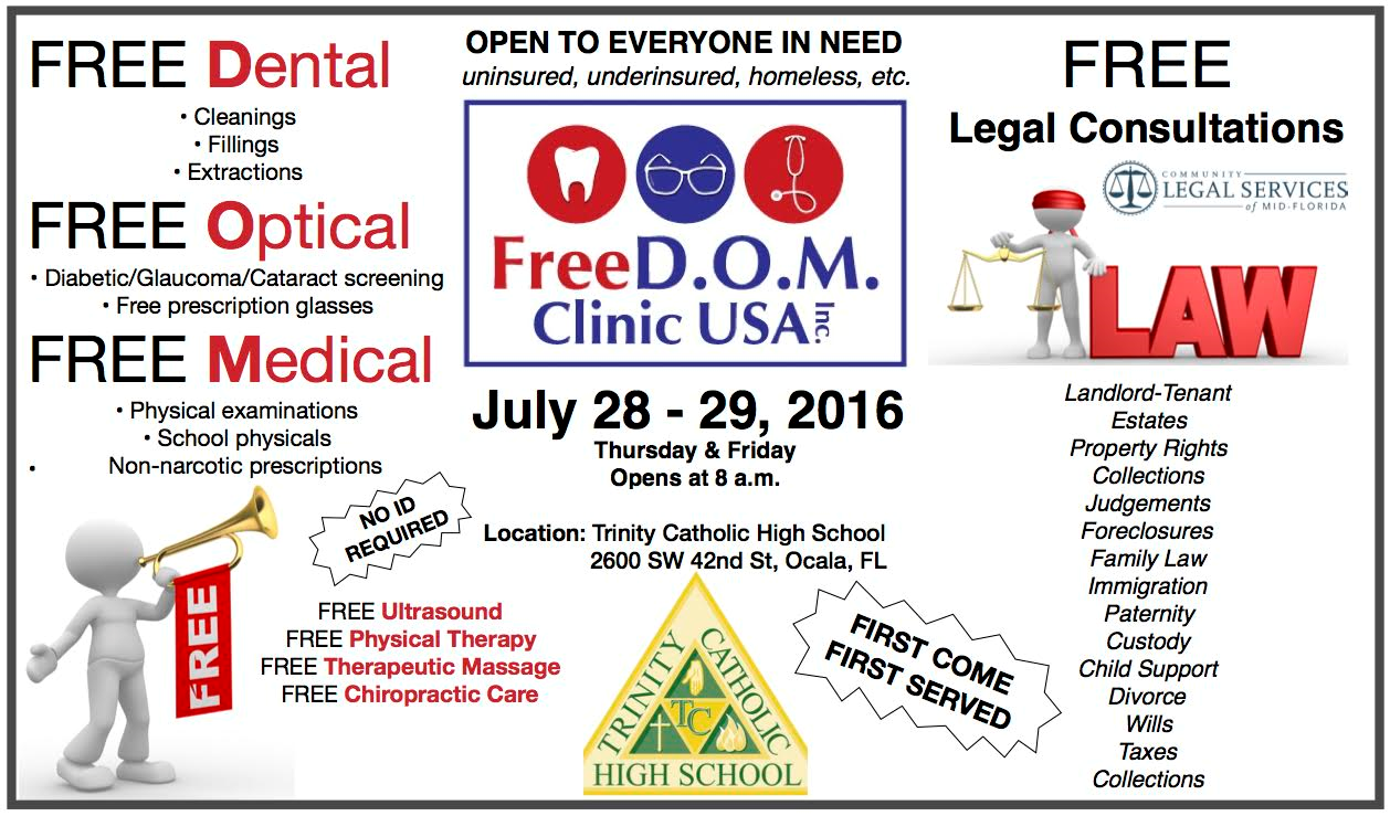 freedom clinic usa, ocala healthcare, free dental, free health care ocala, marion county news