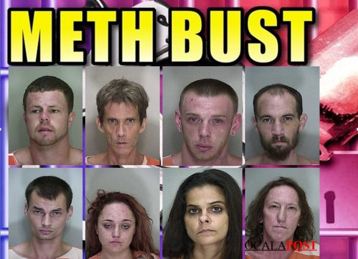 8 arrested after meth lab was discovered