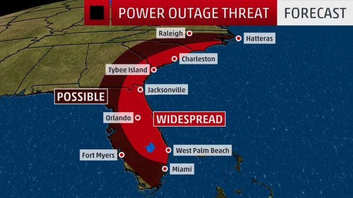 Hurricane Matthew scraping Florida's coast, 600,000 without power so far