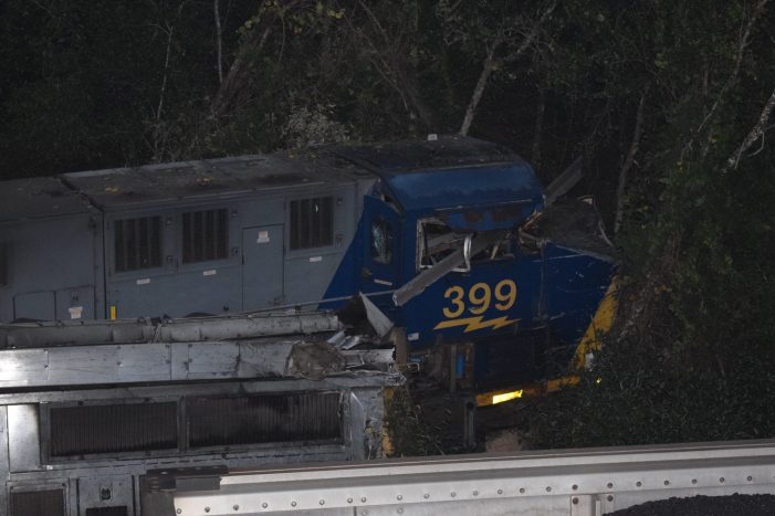 Two-train derailment creates mangled mess