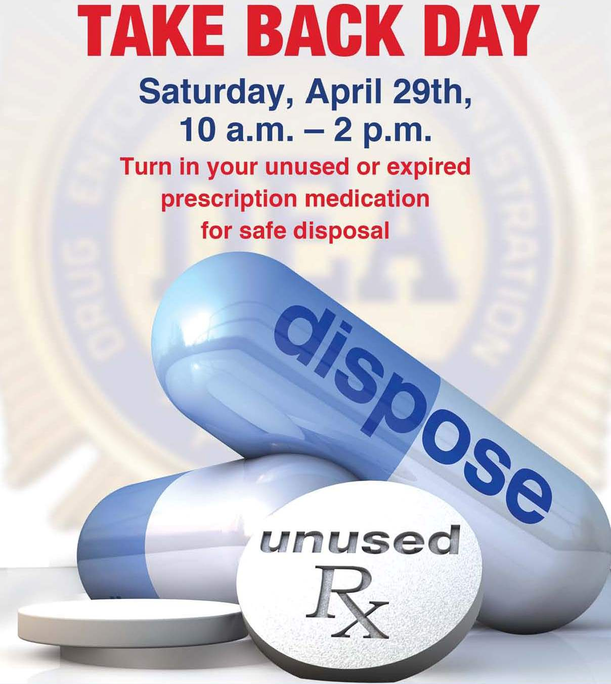 dea, drug take back, ocala police department, national drug take back