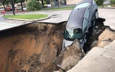 Sinkhole forms following heavy rainfall