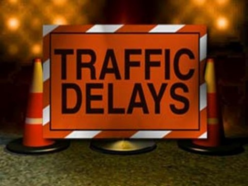 Traffic delays along County Road 42