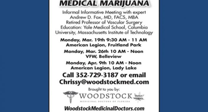 Medical marijuana; meeting coming to Belleview, Fruitland Park, & Lady Lake