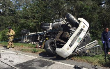 Truck driver airlifted following crash