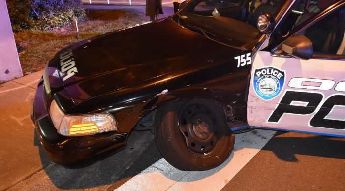 Driver ticketed after hitting marked police cruiser