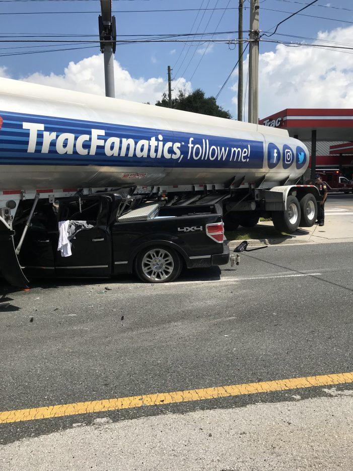 Two-vehicle crash, tanker versus pickup truck