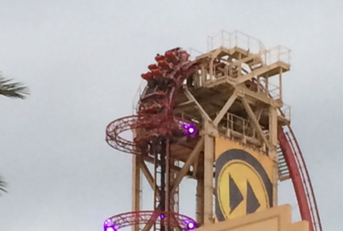 Universal's Rip Ride Rockit Roller Coaster Stuck