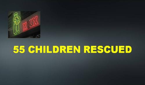 55 children rescued in sex trafficking sting