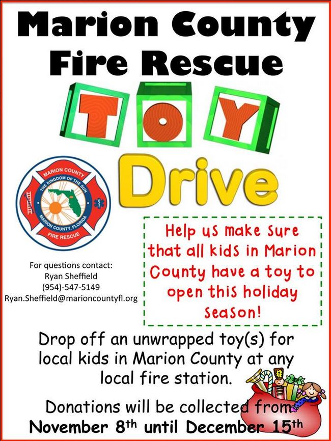 toy drive, ocala news, events, MCFR,  marion county fire rescue