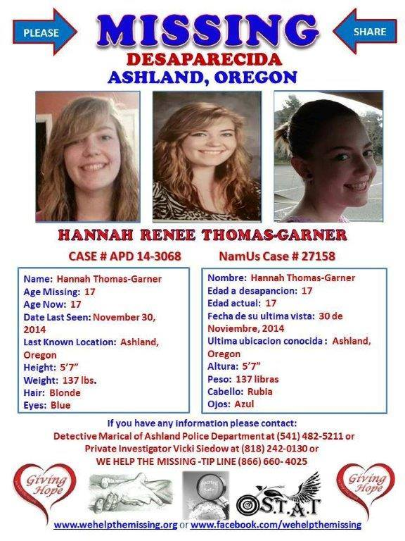 Hannah Thomas-Garner, oregon,  ocala news, oregon news, missing