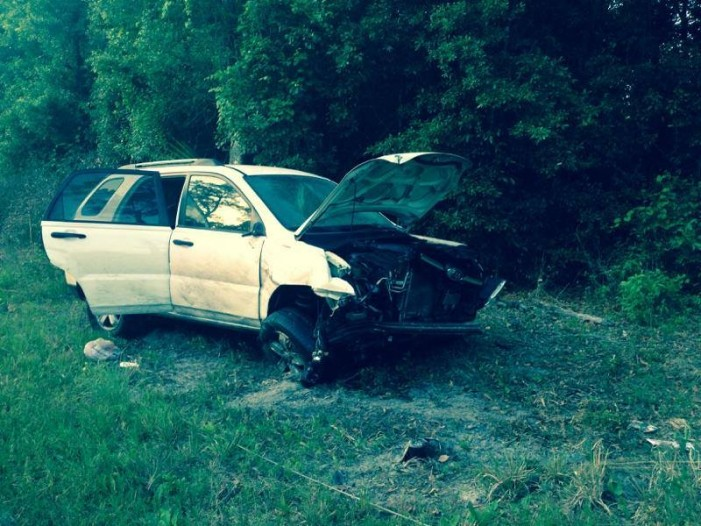 Car flipped and struck power pole, no hospital for man and infant
