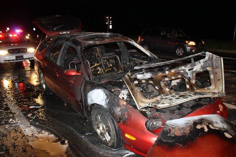 Car burst into flames on Baseline and Maricamp