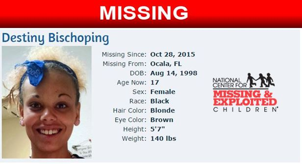 Destiny Bischoping, missing children, ocala news, marion county news, missing teen