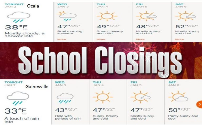 Some Florida schools closing due to cold weather