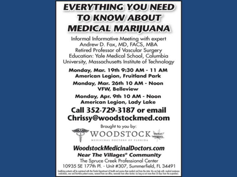 Medical marijuana; meeting coming to Belleview, Fruitland Park, & Lady Lake