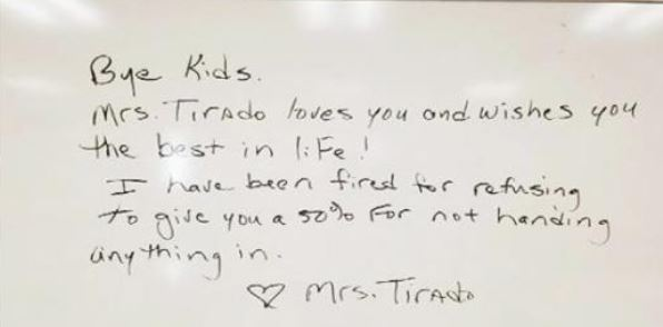 Teacher fired for not giving good grade to students