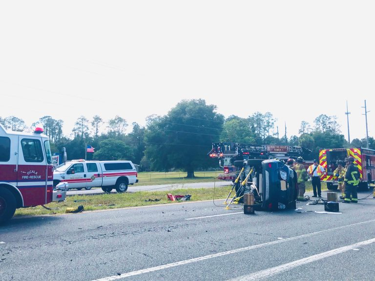 Driver injured in rollover crash on Maricamp Road