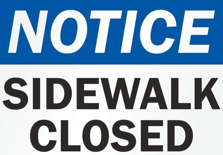 Sidewalk closures in Marion County
